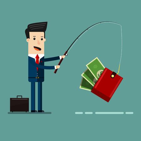 Businessman Catching Money With Fishing Rod. Business Concept Cartoon Illustration. Ilustração