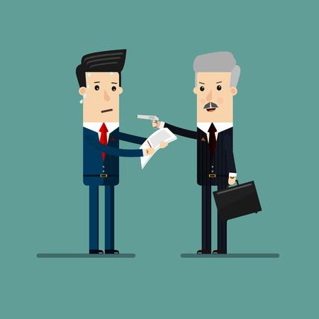 pistolas: hombre de negocios que amenaza con una pistola de la documentación y las exportaciones del empresario, para el diseño de extorsión o chantaje concepto. concepto de negocio ilustración de dibujos animados