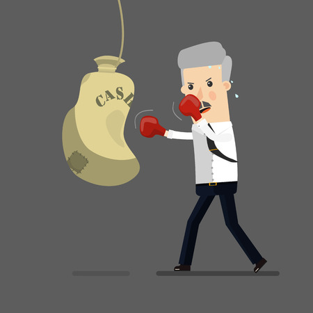 discord: Businessman boxing. Business concept cartoon illustration Illustration