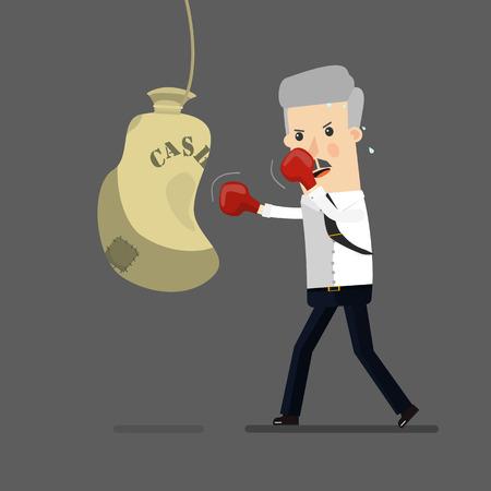 Businessman boxing. Business concept cartoon illustration Ilustração