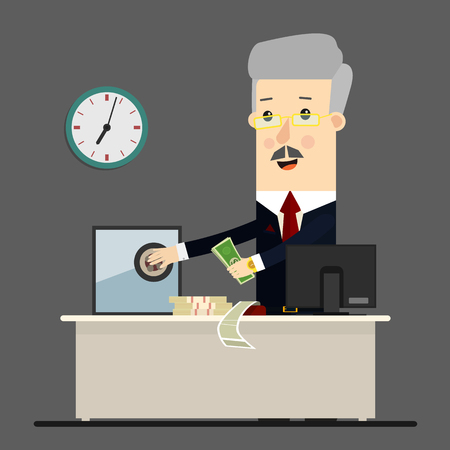 bussinessman: Bussinessman, boss, manager. Successful businessman sitting in a lounge chair in front of a safe with money. Business concept cartoon illustration