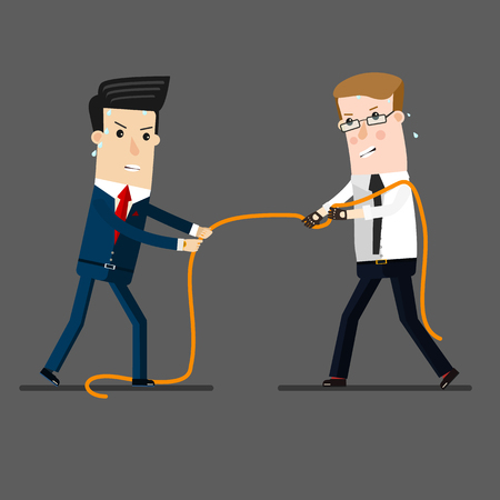 tug: two businessmen in a tug of war battle, for leadership or business competition.  Business concept cartoon illustration