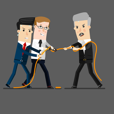 tug: powerful and successful businessman competing with group of businessmen in a tug of war battle, for leadership or business competition concept design. Business concept cartoon illustration