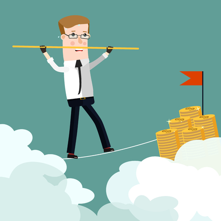 tightrope walker: Businessman rope walk dollar sign pole.  Business concept cartoon illustration
