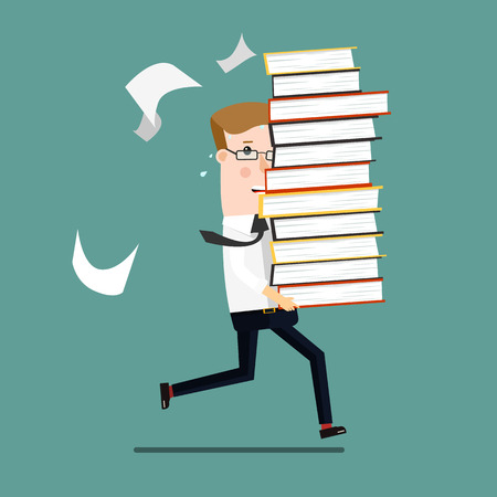 Businessman run holding a lot of documentation in his hands. Business concept cartoon illustration