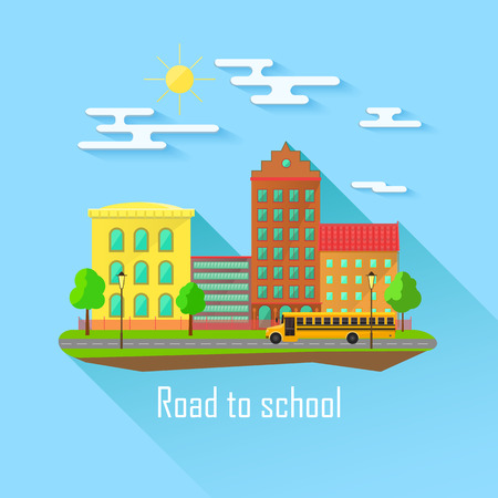 School building, bus and front yard with students children. Flat style illustration isolated on blue background.