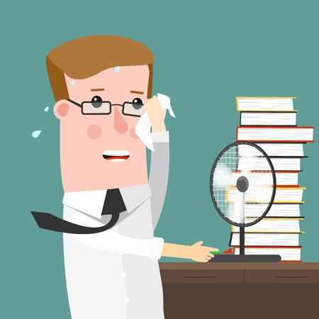 Illustration Doté d'un homme transpirait abondamment dans son bureau