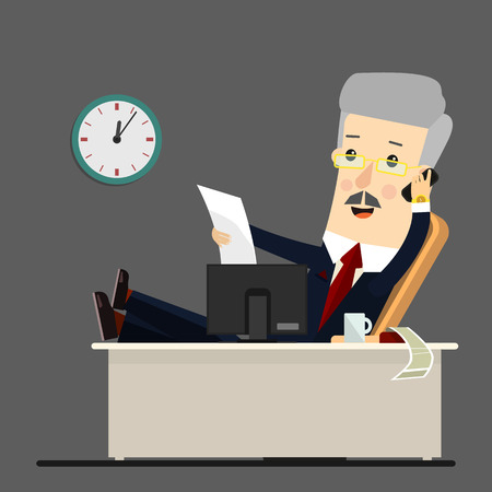 Businessman working at office, illustration, flat style .  Business concept cartoon illustration