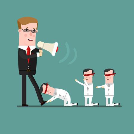 concept de travail d'équipe, le patron Angry engueule son subordonné. Business concept illustration de bande dessinée Vecteurs