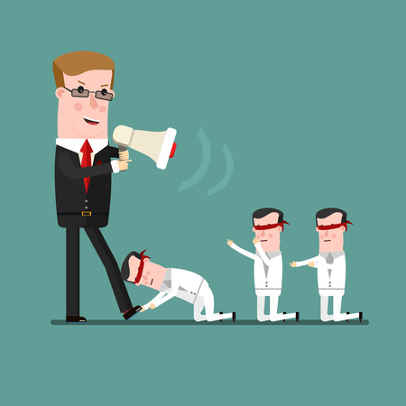 subordinate: teamwork concept, Angry boss berates his subordinate. Business concept cartoon illustration