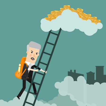 Cartoon successful businessman climbing to stacks of golden coins. Flat design business concept illustration.