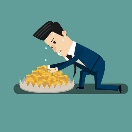 Finance risk concept. young business man look at money on trap. Flat design business concept illustration.