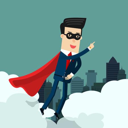Super Businessman in the sky. Business concept illustration. Ilustração
