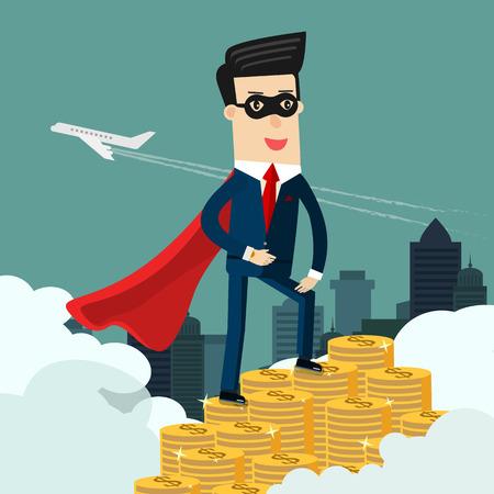 Super Businessman and money. Business concept illustration,