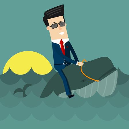 Businessman surfing on wale. Flat design business concept illustration. Ilustração