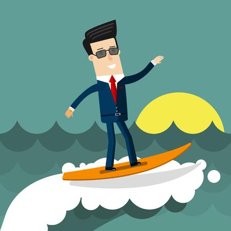 Businessman surfing on wave. Flat design business concept illustration.