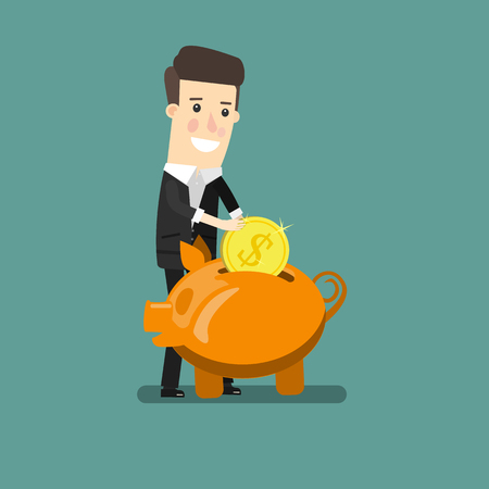 Businessman putting coin into piggy bank. Flat design business concept illustration. Ilustração