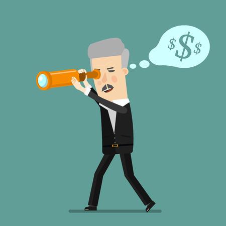 businessman using binoculars , Cartoon businessman looking for success, opportunities, future business trends through a telescope, flat illustration,dollar money, man, business concept. design. Ilustração