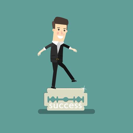 Business man balancing on the knife. Business concept cartoon illustration. Ilustração