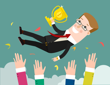resentment: Success. businessman being thrown in the air. Flat design illustration