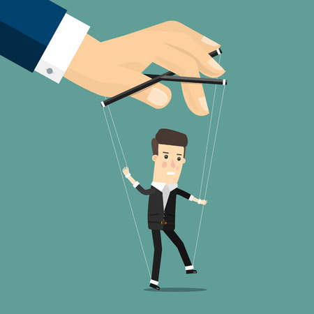 controlled: Businessman marionette on ropes controlled hand.  Business concept cartoon illustration