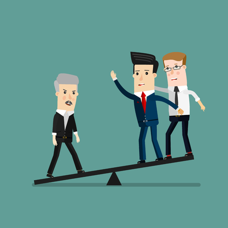 Quality businessman weighing more than four business people, Leadership, Important people concept. Business concept cartoon illustration Ilustração