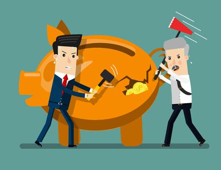Piggy Bank Breaking By Hammer Illustration Ilustração