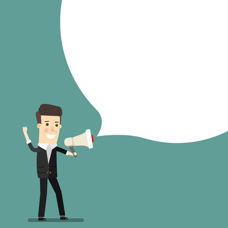 Boss, businessman or manager. A man in a suit shouting through a loudspeaker. Business concept cartoon illustration