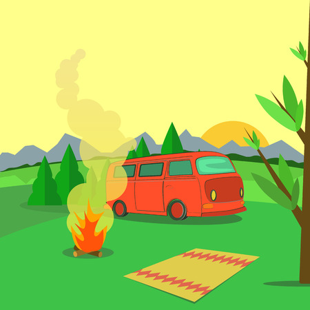 Hiking and outdoor recreation concept with flat camping travel.