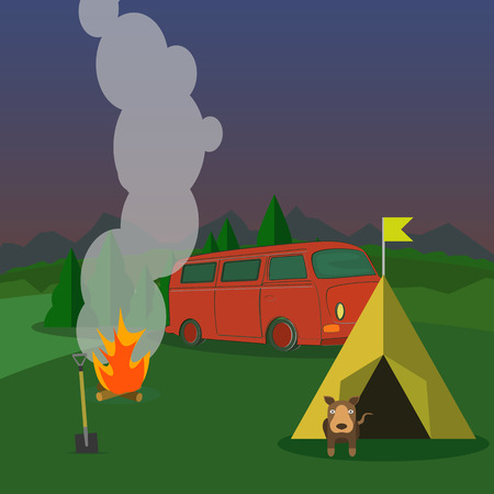 recreation: Hiking and outdoor recreation concept with flat camping travel.