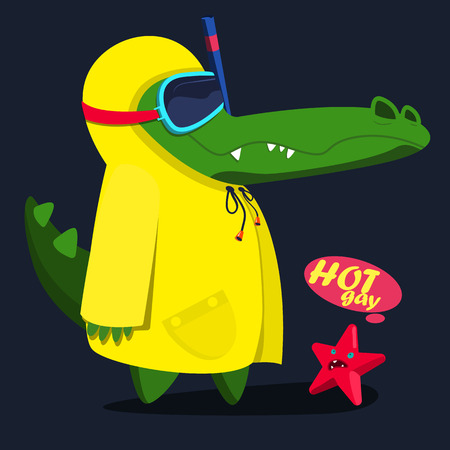 cool, cute monster crocodiles character