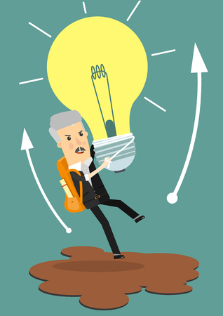 Businessman holds flying light bulb to get away from quicksand.Business concept cartoon illustration.
