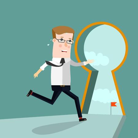 Keyhole Businessman entering keyhole. Business concept illustration. Ilustração