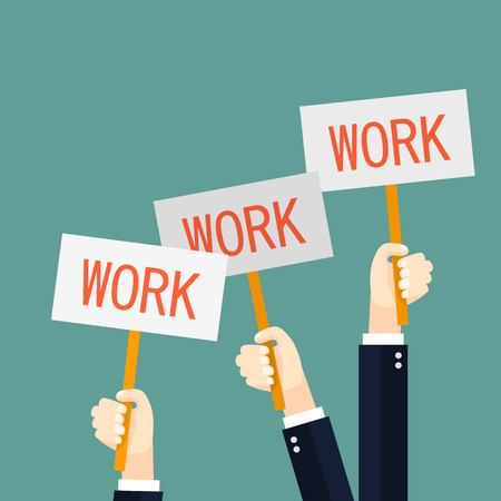 need direction: Businessmen holding redsignboards with the word work. A lot of hands hold placards illustration in flat style