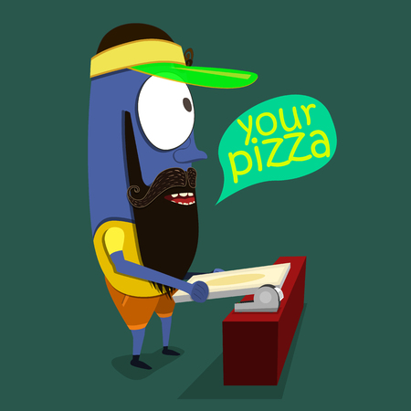 Cool Monster sells pizza in a pizzeria. Vector