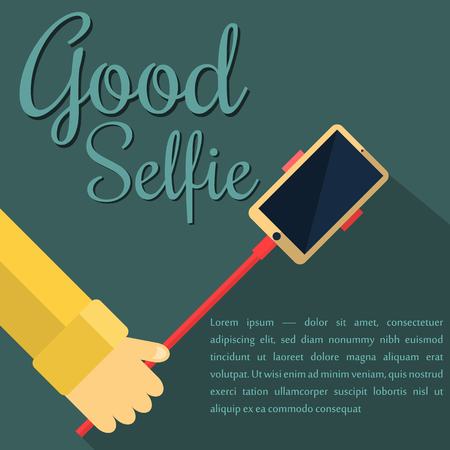 Monopod Selfie man. Self Portrait Tool For Smartphone. Vector Illustration Imagens - 58724560
