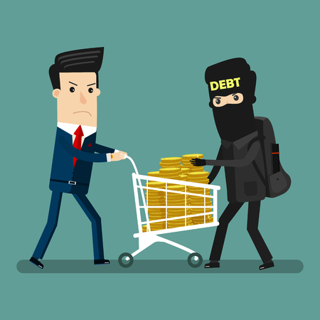 Businessman get robbery by business hands. vector illustration