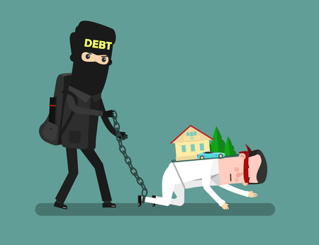 financial cliff: Businessman with credit problems. Man take debt. Business concept cartoon vector illustration. Vector