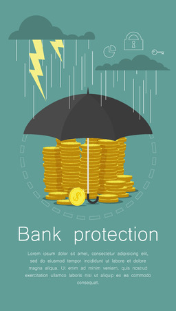 protect money: Hand holding umbrella to protect money. Vector illustration for financial savings concept.