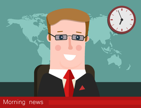 Morning news. Silhouette of a man with glasses. News announcer in the studio. Vector illustration. 向量圖像