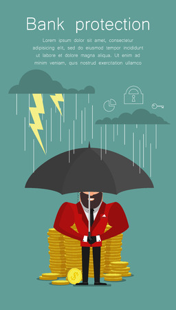 A businessman with umbrella protecting bank. Saving money for any storm problem will come. Business concept. Vector