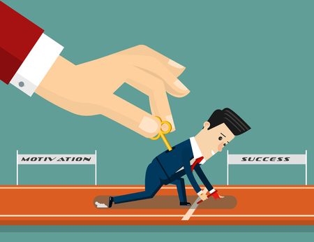 Boss motivates his subordinate. Business concept cartoon illustration. Vector