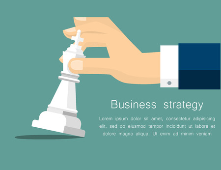 strategic position: Vector business strategy concept in flat style - male hand holding chess figure - planning and management. Vector