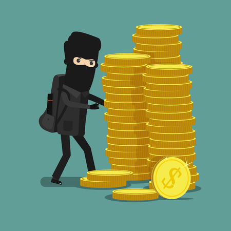 Cartoon thief steals money in the mask. Economic crime. Vector