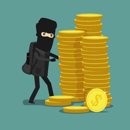 burglar: Cartoon thief steals money in the mask. Economic crime. Vector