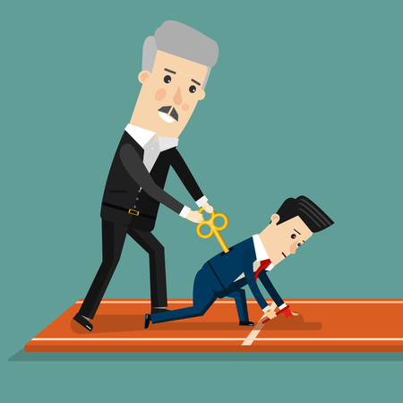 subordinate: Boss motivates his subordinate. Business concept cartoon illustration. Vector