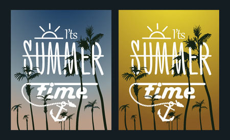 Paradise Island-Palm Tree Sunset. Vector summer poster set