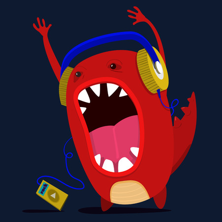 cute monster listen to music graphic. Vector