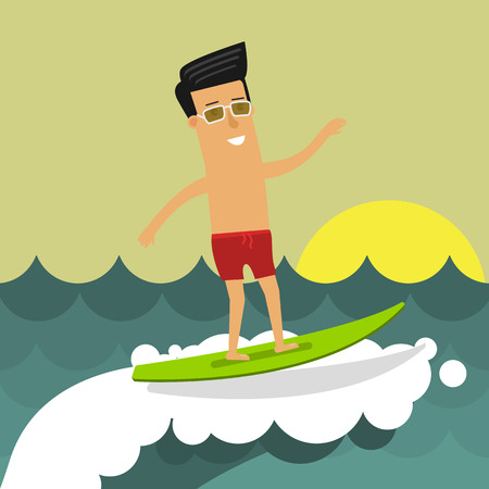 Businessman on vacation riding a surfboard. Vector