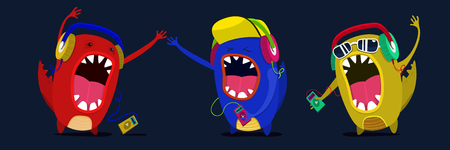 cute monster listen to music graphic. Set musicians. Vector 向量圖像